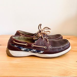 Sperry topsider brown leather plaid boat shoes 7.5